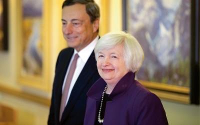 ECB-president Mario Draghi en Fed-voorzitter Janet Yellen