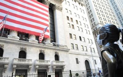 Fearless girl bij NYSE tijdens coronacrisis