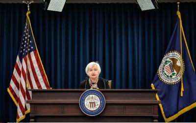 Janet Yellen, bij een persconferentie van de Fed
