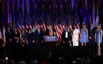 President Trump en zijn familie op 9 november 2016