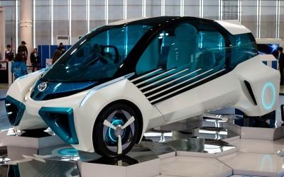 Een Toyota-conceptvoertuig op waterstof-brandstofcellen