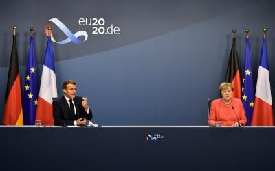 Emmanuel Macron en Angela Merkel