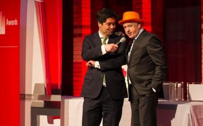 San Lie en Joop Witteveen tijdens de uitreiking van de Award