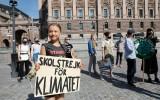 Greta Thunberg, protest voor parlement Stockholm