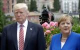 Donald Trump en Angela Merkel