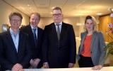Pieter Bas Schoe en Robert de Jonge (BPL),  Erik Bakker en Sabine van Gompel (Blue Sky Group)